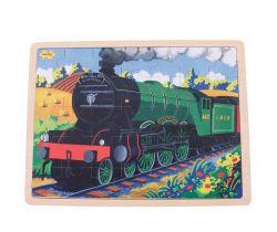 Drevené puzzle Bigjigs Toys Historický vlak Flying Scotsman 35 dielikov