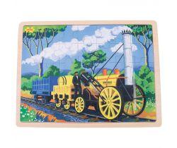 Drevené puzzle Bigjigs Toys Historický vlak Rocket 35 dielikov