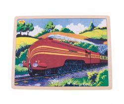 Drevené puzzle Bigjigs Toys Historický vlak Vojvodkyňa z Hamiltnu 35 dielikov