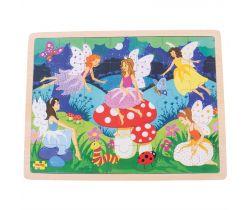 Drevené puzzle Bigjigs Toys Kúzelné víly 35 dielikov