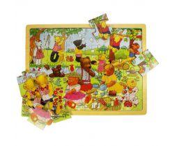 Drevené puzzle Bigjigs Toys Medvedí piknik 24 dielikov