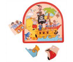 Drevené viacvrstvové puzzle Bigjigs Toys Pirátska loď