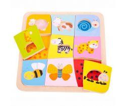 Drevené vkladacie puzzle Bigjigs Toys 9 zvieratiek