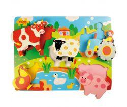 Drevené vkladacie puzzle Bigjigs Toys Farma
