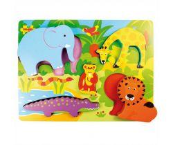 Drevené vkladacie puzzle Bigjigs Toys Safari