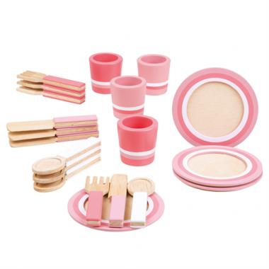 Drevený raňajkový servis Bigjigs Toys Ružový