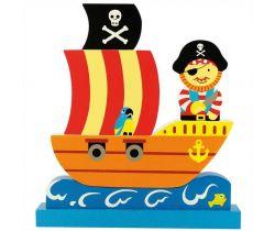 Magnetické puzzle Bigjigs Toys Pirátska loď