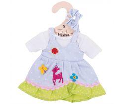 Bodkované šaty s jeleňom pre bábiku 28 cm Bigjigs Toys Modré