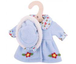 Kabátik s klobúčikom pre bábiku 28 cm Bigjigs Toys Modrý