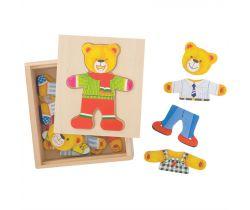 Oblékací puzzle Bigjigs Toys Pan medveď