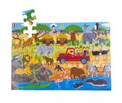 Podlahové puzzle 48 dielikov Bigjigs Toys Africkej dobrodružné
