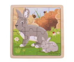Puzzle Bigjigs Toys Králik s králičkom 16 dielikov