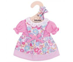 Kvetinové šaty pre bábiku 28 cm Bigjigs Toys Ružové