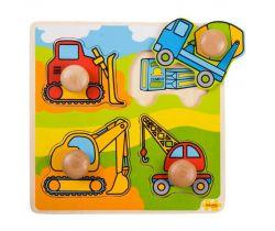 Vkladací puzzle Bigjigs Toys Stavebné stroje