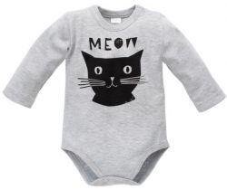 Body dlouhý rukáv Pinokio Happy Day Cat Grey