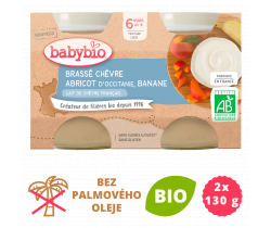 Brassé z kozieho mlieka + marhuľa + banán 2x130 g Babybio