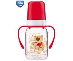 Canpol Animals fľaška s potlačou 120 ml s úchytmi bez BPA