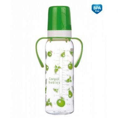 Canpol fľaša s jednobarevnou potlačou plastová 250 ml s úchytami
