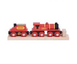 Červená lokomotíva s tendrom + 3 koľaje Bigjigs Rail