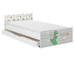 Detská posteľ so zásuvkou Wooden Toys Pufi Dino