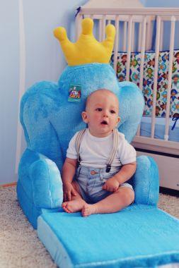 Detské plyšové kresielko Smyk 2v1 Trón modrý