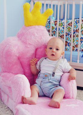 Detské plyšové kresielko Smyk 2v1 Trón ružový