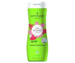 Detské telové mydlo a šampón (2 v 1) Attitude Little leaves s vôňou melónu a kokosu 473 ml
