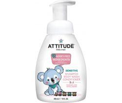 Detské telové mydlo, šampón a kondicionér (3v1) bez vône s pumpičkou 300 ml Attitude