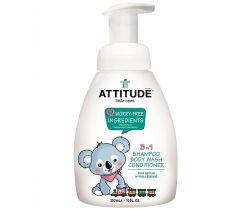 Detské telové mydlo, šampón a kondicionér (3v1) s vôňou hruškovej šťávy s pumpičkou 300 ml Attitude
