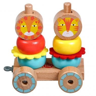 Drevená hračka Lucy&Leo Lion Family Stacker Trolley