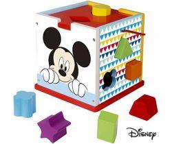Drevená kocka s tvarmi Derrson Disney Mickey Mouse