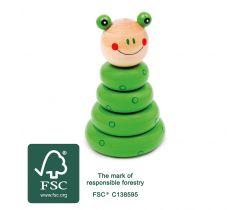 Drevená motorická nasadzovacie hra Small Foot Zostaviteľný žaba