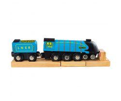 Drevená replika lokomotívy + 3 koľaje Bigjigs Rail Mallard