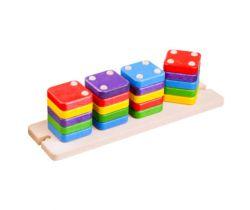 Drevená skladacia pyramída Lupo Toys Domino