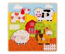 Drevené puzzle s úchytmi 12m + Jouéco Domáce zvieratka