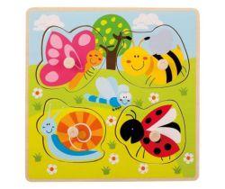 Drevené puzzle s úchytmi 12m + Jouéco Zvieratká na lúke