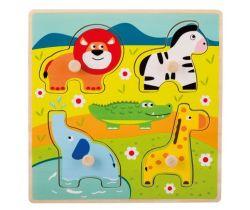 Drevené puzzle s úchytmi 12m + Jouéco Zvieratká v ZOO