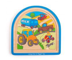 Drevené viacvrstvové puzzle Bigjigs Toys Farma