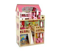 Drevený dvojposchodový domček pre bábiky EcoToys Raspberry