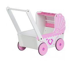 Drevený kočík pre bábiky EcoToys Pink Heart