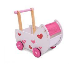 Drevený kočík pre bábiky EcoToys Red Heart