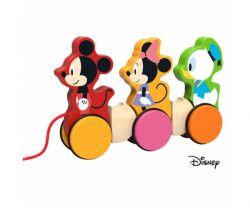 Drevený ťahacie Mickey, Minnie a Donald Derrson Disney