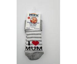 Froté ponožky pruhované veľkosť 0 Pinokio Deluxe I Love Mum