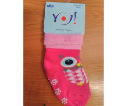 Froté ponožky s protišmykovou úpravou Yo Pink Owl