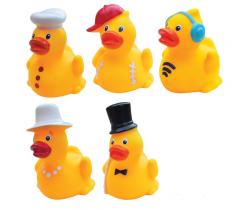 Gumové kačičky s klobúčikom 3 ks Hencztoys