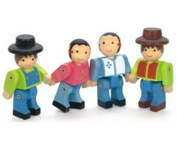 4 drevené pohyblivé figúry stavebníc Jeujura