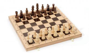 Šach v drevenom skladacím boxe Jeujura