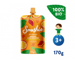 Kapsička Ovocné smoothie s mangom, pomarančom a datľami (170 g) Smushie BIO