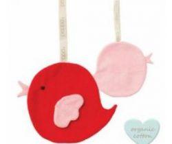 Klip na cumlík Babylonia Comfort Buddies Bird Red/Baby Pink