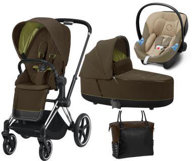 Kočík Set 3v1 Cybex Priam 2020 Podvozok Chrome Black + Seat Pack + Hlboká korbička Lux + Aton M I-Size + Taška